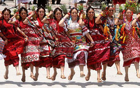 Traditional music and dances celebration of the Guelaguetza Native Festival in Oaxaca, Mexico with women from different ethnic groups