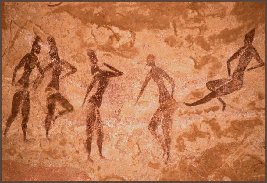 Image pour engager notre mémoire de porteurs des cercles sacrés de nos civilisations | dessin danse de la période rupestre il y a 35 000 ans