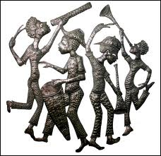 Metalwork representing Rara dance celebration - the artisan/artists are called Bòs Metal, Haiti culture | https://www.pinterest.com/artpreneure/haiti-culture-ayiti-kilti/ |  voicesfromhaiti.com